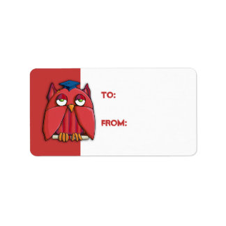 Red Owl Grad red Gift Tag Sticker