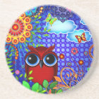 Red Owl on Blue Coaster