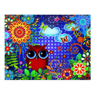 Red Owl on Blue Postcard
