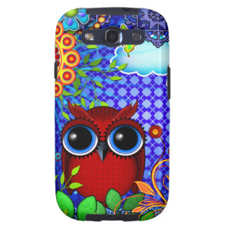 Red Owl on Blue Samsung Galaxy S3 Covers