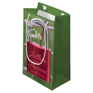 Red Padlock Chain Link Fence Love Thanks Overlay Small Gift Bag