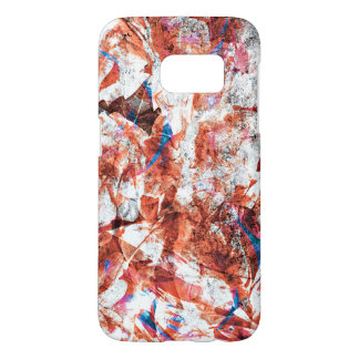 Red paint brush abstract modern digital art samsung galaxy s7 case