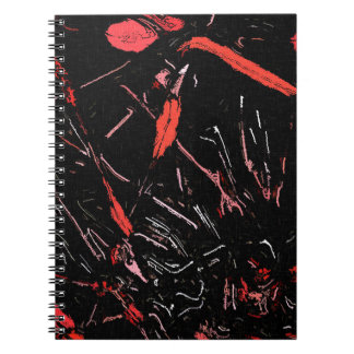 Red paint splashes abstract stains grunge design notebook