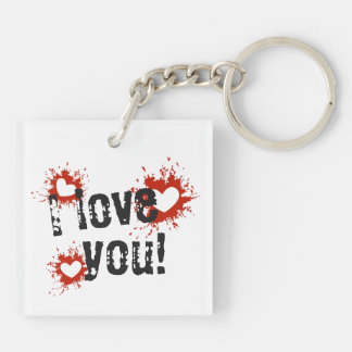 Red Paint Splatter Hearts, I Love You Keychain