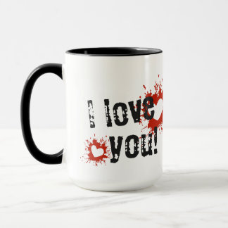 Red Paint Splatter Hearts, I Love You Mug
