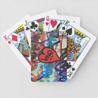 red painted heart love graffiti bicycle playing cards