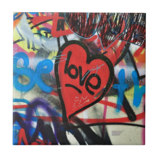 red painted heart love graffiti tile
