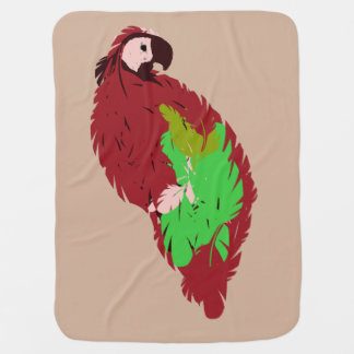 Red Painted Parrot Swaddle Blanket