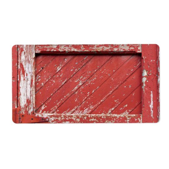 Red Painted Wooden Barn Door Shipping Label