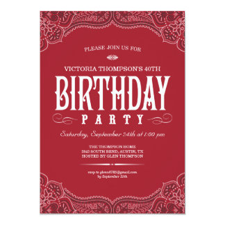 Red Paisley Birthday Invitations