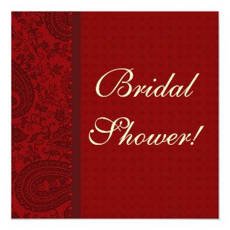Red paisley Damask brocade Indian bridal shower Card