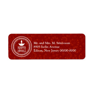 Red Paisley Diwali Return Address Return Address Label