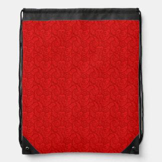 Red Paisley Drawstring Bag