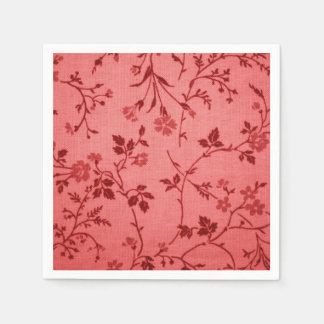 Red paisley fabric like linen look paper napkins