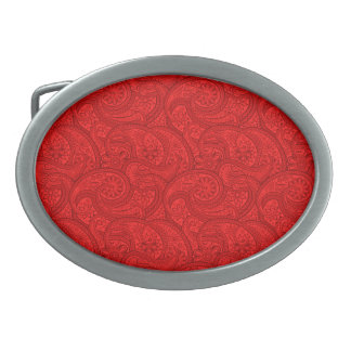 Red Paisley Oval Belt Buckle