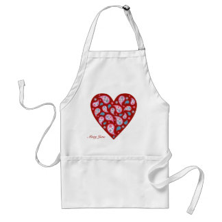 Red Paisley Pop Heart Apron