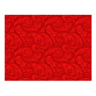 Red Paisley Postcard