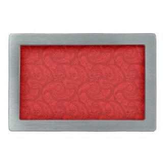 Red Paisley Rectangular Belt Buckles