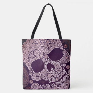 red paisley sugar skull all over tote bag