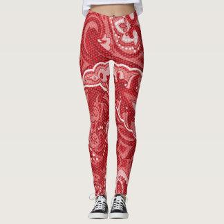 Red paisley swirl pattern leggings