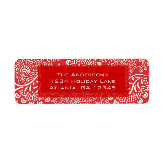 Red Paisley Swirls Return Address Return Address Label
