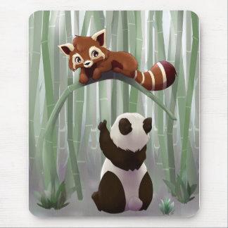 Red panda and panda bear cub mouse pad