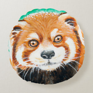 Red Panda Art Round Pillow