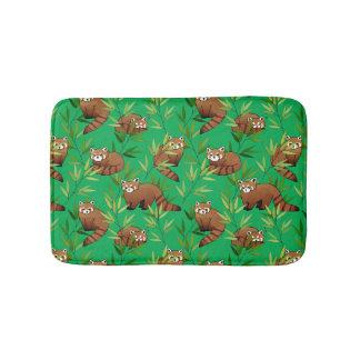 Red Panda & Bamboo Leaves Pattern Bath Mat
