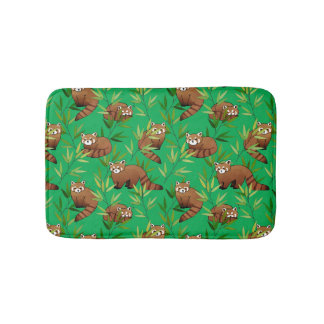 Red Panda & Bamboo Leaves Pattern Bathroom Mat