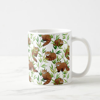 Red Panda & Bamboo Leaves Pattern Coffee Mug