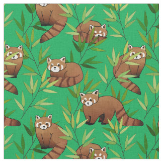 Red Panda & Bamboo Leaves Pattern Fabric