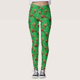 Red Panda & Bamboo Leaves Pattern Leggings