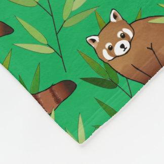 Red Panda & Bamboo Leaves Pattern & Monogram Fleece Blanket