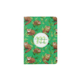 Red Panda & Bamboo Leaves Pattern & Monogram Passport Holder