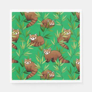 Red Panda & Bamboo Leaves Pattern Napkin
