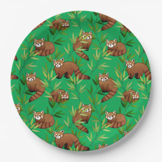 Red Panda & Bamboo Leaves Pattern Paper Plate