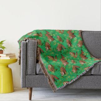 Red Panda & Bamboo Leaves Pattern Throw Blanket