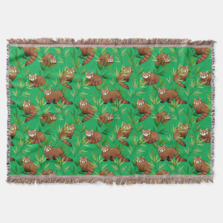 Red Panda & Bamboo Leaves Pattern Throw Blanket
