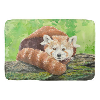 Red panda bathroom mat