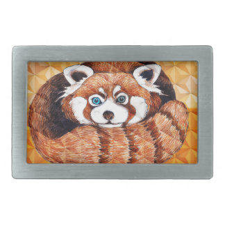 Red Panda Bear On Orange Cubism Belt Buckle