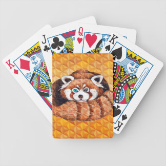Red Panda Bear On Orange Cubism Bicycle Playing Cards