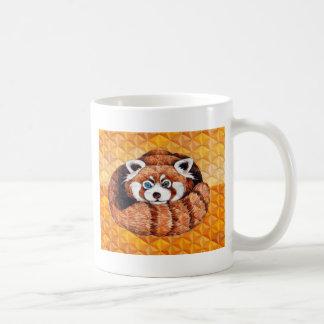 Red Panda Bear On Orange Cubism Coffee Mug