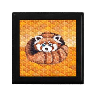 Red Panda Bear On Orange Cubism Gift Box