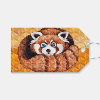 Red Panda Bear On Orange Cubism Gift Tags