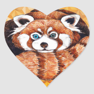 Red Panda Bear On Orange Cubism Heart Sticker