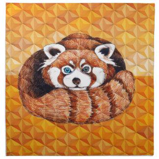 Red Panda Bear On Orange Cubism Napkin