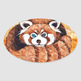 Red Panda Bear On Orange Cubism Oval Sticker