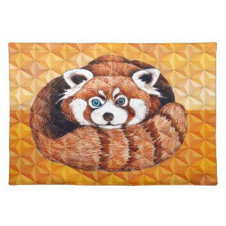 Red Panda Bear On Orange Cubism Placemat