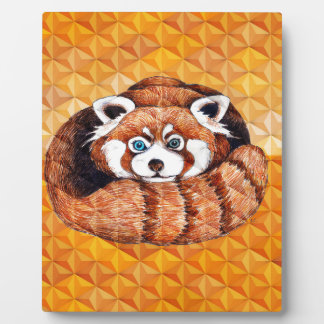 Red Panda Bear On Orange Cubism Plaque