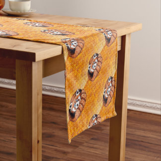 Red Panda Bear On Orange Cubism Short Table Runner
